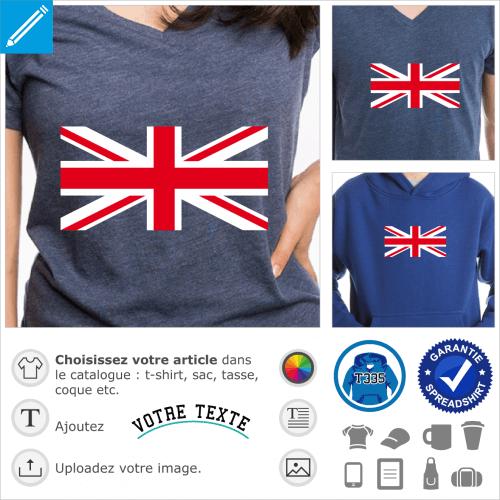 Croix centrale du drapeau anglais à bandes rouges et blanches perpendiculaires et obliques à imprimer sur t-shirt bleu marine