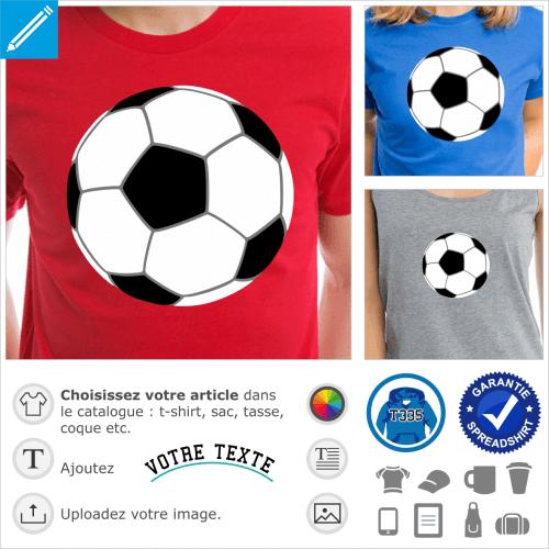 Motif football, ballon de football dessiné en trois couleurs, sans contours. Ballon à personnaliser et imprimer sur t-shirt coloré.