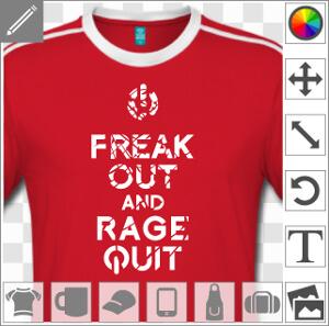 Keep calm and rage quit, design keep calm détourné avec la mention freak out, un motif geek et gamer.