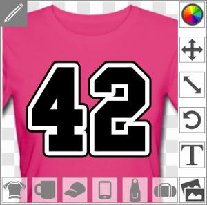 42, un design geek et scifi, avec le nombre 42 écrit en gros caractères.