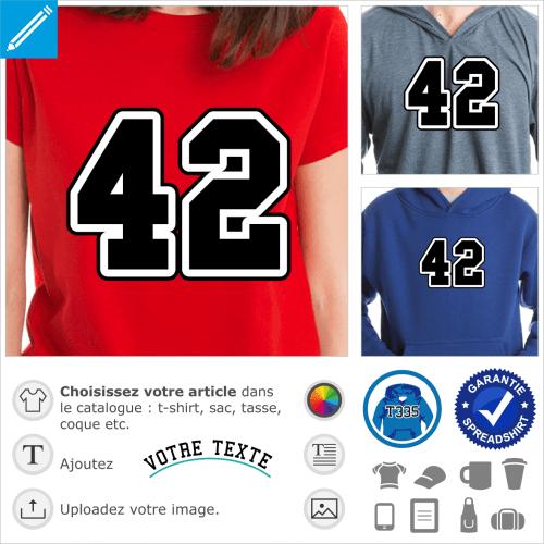 42 écrit en gros chiffres d'université américaine, design 2 couleurs.