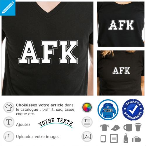 AFK écrit en typo college, un design gamer e grandes lettres majuscules.