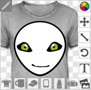 Créez un t-shirt alien original avec cette tête d'extraterrestre mignon.