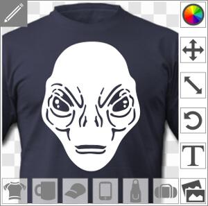Alien de face, au visage détaillé. Design personnalisable une couleur.