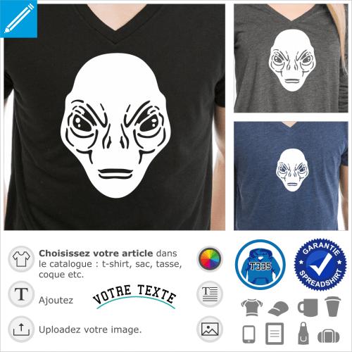 Tête d'Alien dessiné en aplats et découpes, un design pour l'impression de t-shirts.
