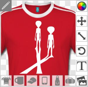 Aliens et ombre portée en X, design pour personnalisation de t-shirt.