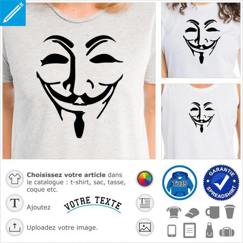 Masque anonymous une couleur aux traits de Guy Fawkes à personnaliser.
