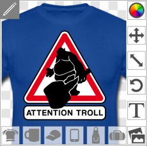 Panneau de signalisation geek et humoristique avec figurine de troll portant une masse.