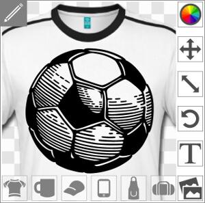 Ballon de foot à traits fins et hachures pour les ombres