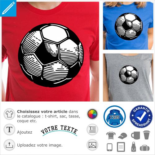 Ballon de football deux couleurs opaque spécial impression en ligne, dessiné en style encre et gravure.