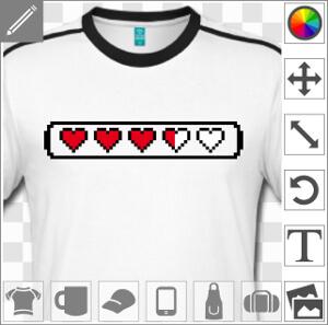 Barre de vie alignant des cœurs pleins et cœurs entamés, dessinés en pixels.