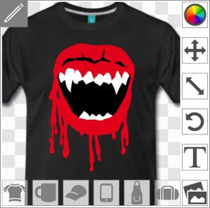 Bouche de vampire 3 couleurs à imprimer sur t-shirt tasse ou accessoire pour Halloween.