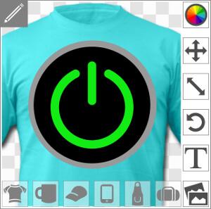 Bouton start 3 couleurs spécial impression de t-shirt gamer et geek.