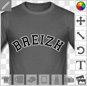 Breizh, design breton à imprimer enligne sur t-shirt, tasse, cadeau etc. écrit en grandes lettres fines bordées d'un tracé épais.