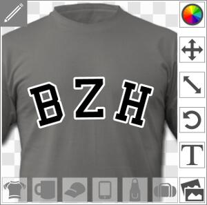 BZH à imprimer sur t-shirt, design vectoriel deux couleurs personnalisable.