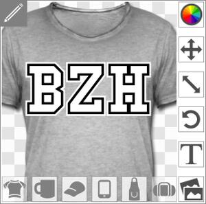 BZH écrit en typo droite et simple deux couleurs à personnaliser, motif spécial impression t-shirt.