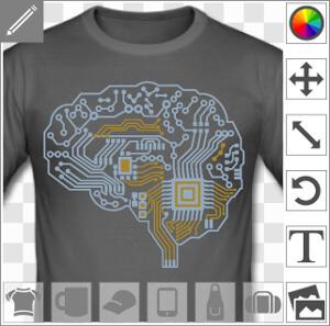 Cerveau dessiné en circuit imprimé, design geek deux couleurs personnalisables composé de lignes et aplats, sans couleur de fond. Le cerveau laisse ap