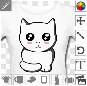 Personnalisez un t-shirt ou un mug chaton avec e design chat kawaii.