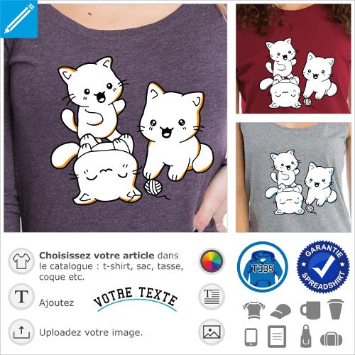 Trio de chatons rigolos en style kawaii, à personnaliser et imprimer sur t-shirt.