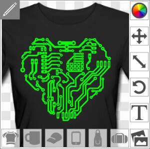 Coeur dessiné en lignes de circuit, un design geek et cyborg.