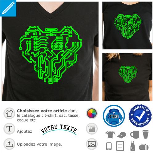 Circuit imprimé en forme de cœur.