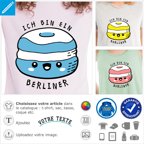 T-shirt citations drôles, design humour avec citation de Kennedy Ich bin ein Berliner, et beignet kawaii
