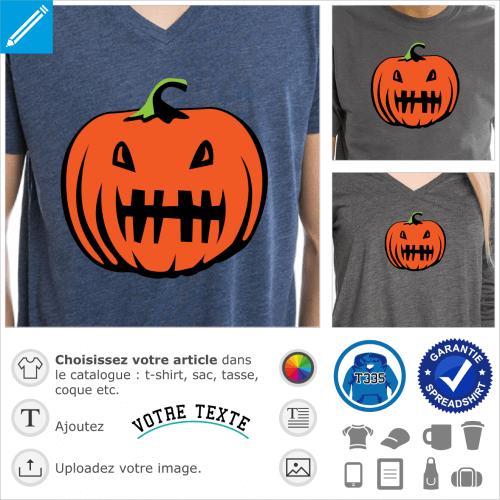 Citrouille édentée, motif pour Halloween rigolo spécial impression de t-shirt.