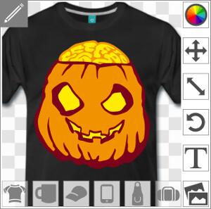Citrouille d'Halloween à personnaliser pour imprimer un t-shirt rigolo en ligne.