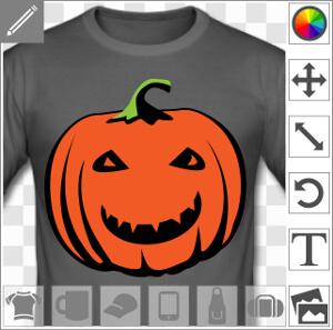 Citrouille sylisée afficahtn un grand sourire, un design spécial Halloween pour créer un t-shirt original en ligne.