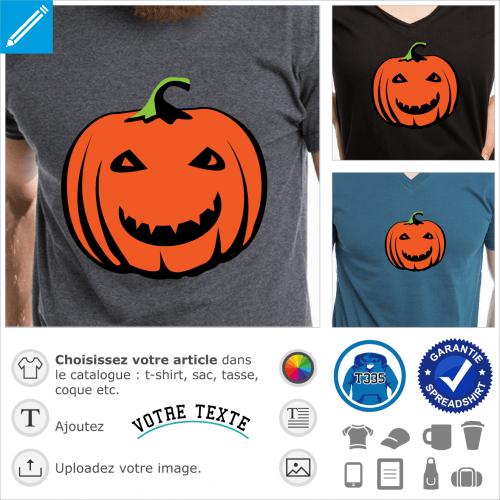 Citrouille à grand sourire et petits yeux rieurs, avec effet relief et chapeau en tige, un design Halloween pour impression de t-shirt.