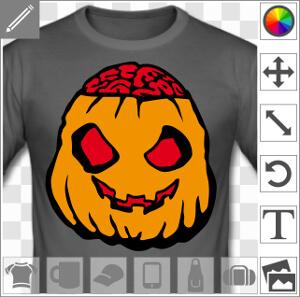 Citrouille d'Halloween humoristique à l'allure de zombie et à la cervelle qui sort du crâne.