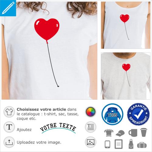 Ballon en forme de cœur attaché à une ficelle à imprimer en ligne.