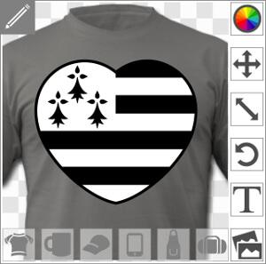 Coeur à bandes et hermines du drapeau breton.