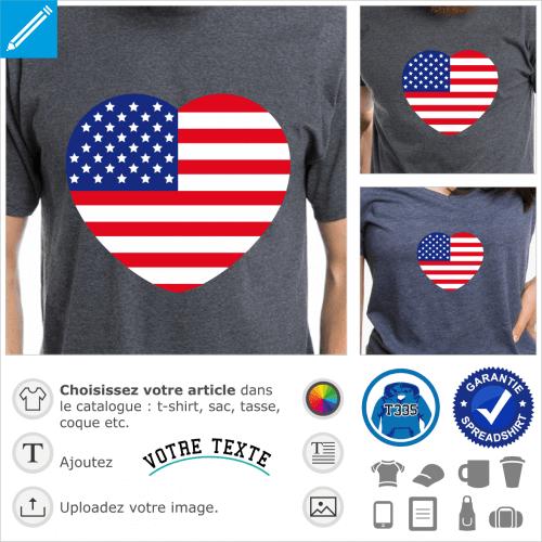 Coeur et drapeau des usa, un design J'aime l'Amérique.