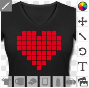 Coeur dessiné en pixels, un motif geek et pixel art.