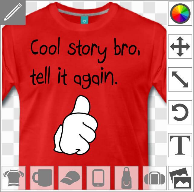 Cool story bro, un design humour et internet.