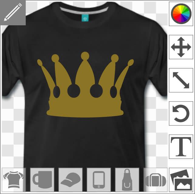 Couronne de roi personnalisable à imprimer en doré ou argenté sur un t-shirt personnalisé.