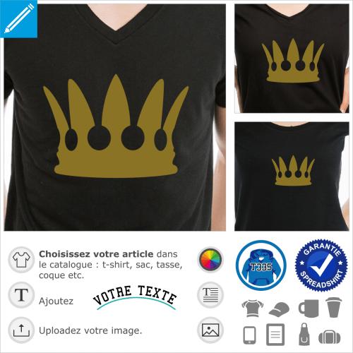 Couronne royale stylisée à imprimer en or ou argent.