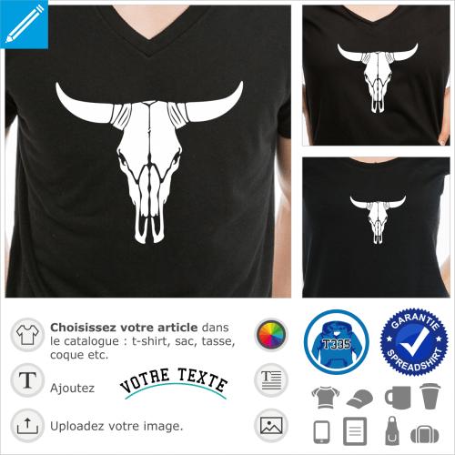 Crâne de vache, design cowboy et western en aplat et découpes des reliefs.