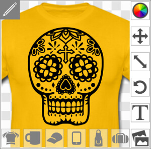 Crâne mexicain floral une couleur dessiné en découpes et contours épais.