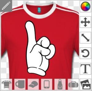 Index tendu, design doigt de Mickey et doigt stylisé, motif deux couleurs.