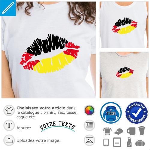Drapeau Allemand, Kiss Deutschland, drapeau de l'Allemagne sur bouche stylisée.