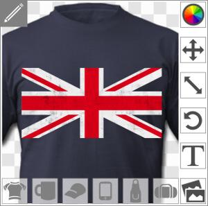 Drapeau anglais vintage personnalisable, image haute résolution de la croix centrale du drapeau anglais avec texture usée, design conçu pour une impre