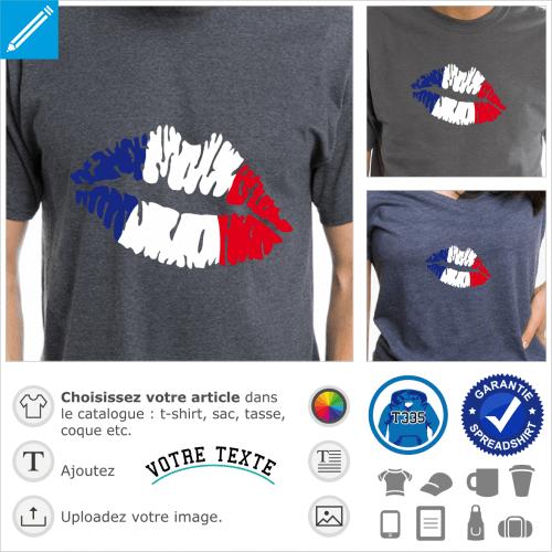 Kiss France, lèvres stylisées aux couleurs du drapeau français.