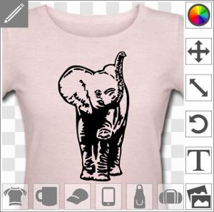 Elephant bébé, dessiné de face en tracés épais et aplats unis.