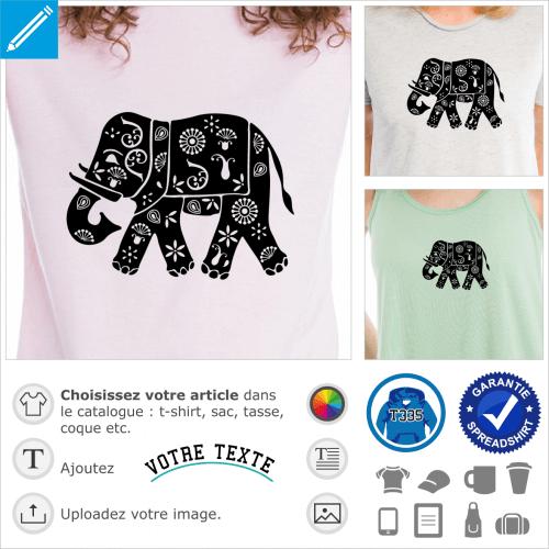 Elephant indien décoré de fleurs et motifs indiens classiques, un design spécial impression t-shirt, cadeau, tasse etc.