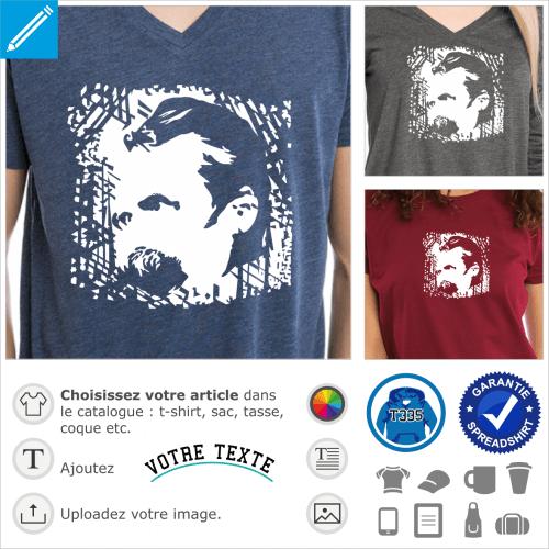 Friedrich Nietzsche, portrait du philosophe à imprimer en clair sur t-shirt ou accessoire foncé.