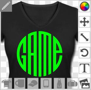 Game écrit en typo personnalisée dont les lettres associées forment un cercle.