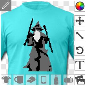 Gandalf dans la Moria, you shall not pass, design pixel art trois couleurs.