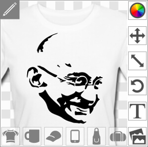 t shirt gandhi portrait stylis du grand homme imprimer. Black Bedroom Furniture Sets. Home Design Ideas